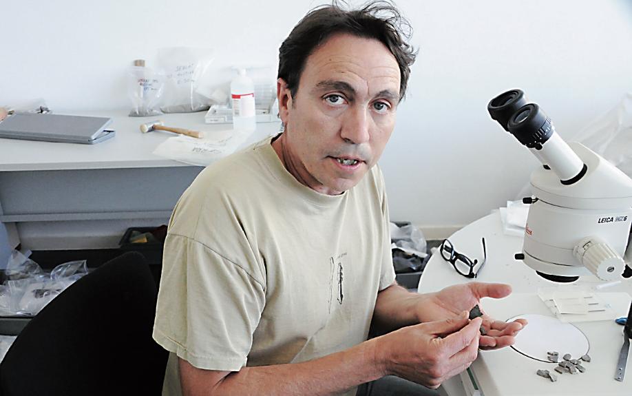 El paleontòleg sabadellenc Àngel Galobart amb els fòssils de 'primatolithos trempii'