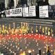 Espelmes enceses dibuixant el logotip de la campanya durant la Roda de la Pau, una de les més multitudinàries de les convocades en els darrers anys