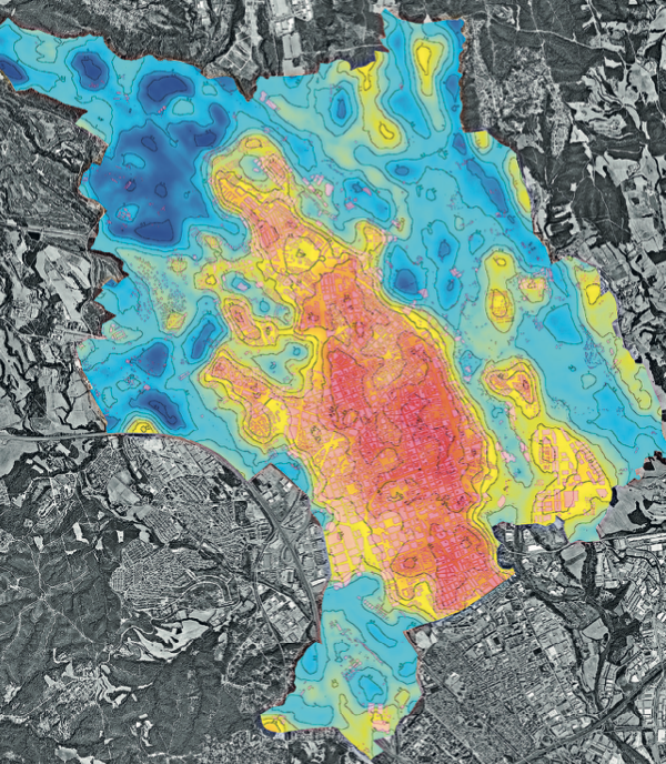 El mapa de Sabadell que reflecteix el comportament tèrmic