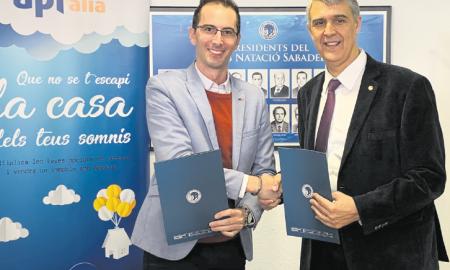Xavi Santos i Claudi Martí després de signar l'acord de col·laboració entre les dues entitats