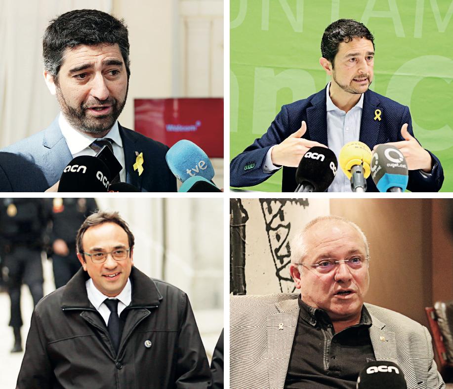 De dalt a baix i d'esquerra a dreta: Jordi Puigneró, Damià Calvet, Josep Rull i Lluís Puig