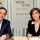 Gonzalo Gortázar, conseller delegat de CaixaBank, i Pilar López, presidenta de Microsoft