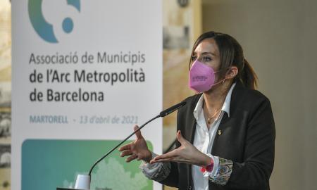 Marta Farrés, aquest dimarts, a l'acte d'inauguració de l'Arc Metropolità